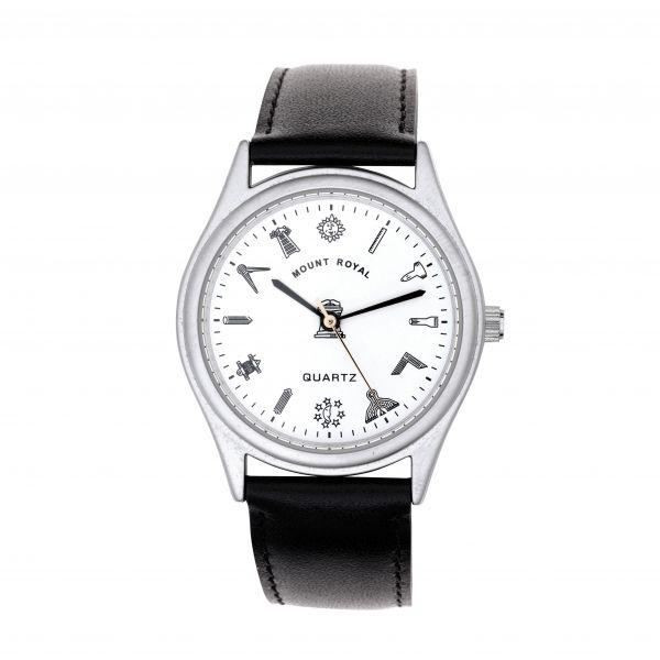 Men's G406 Masonic Silver Plated & White Wrist Watch