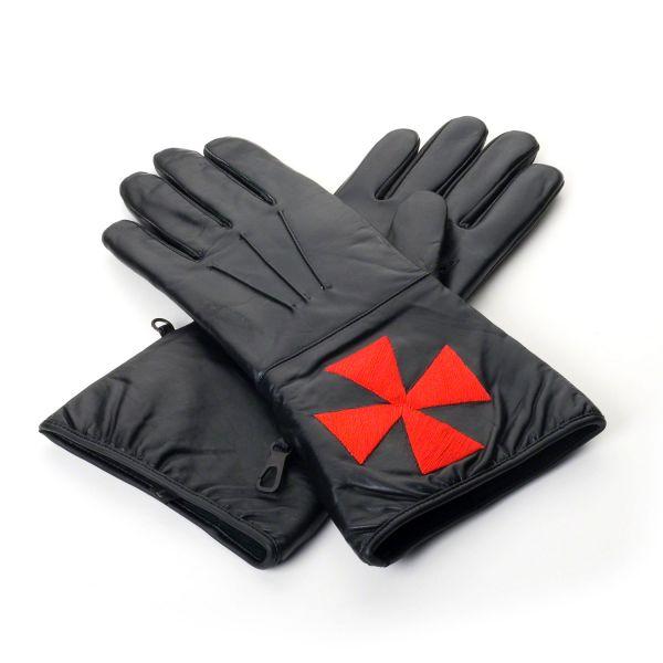Masonic Black Knights Templar Leather Gauntlets