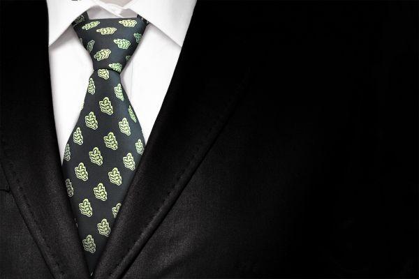 Acacia Leaf Tie & Matching Cufflinks