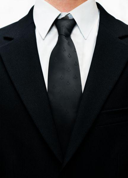Freemasons Black 100% Silk Masonic Tie