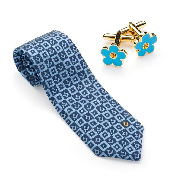 Forget me Knot Silk Tie & matching Cufflinks