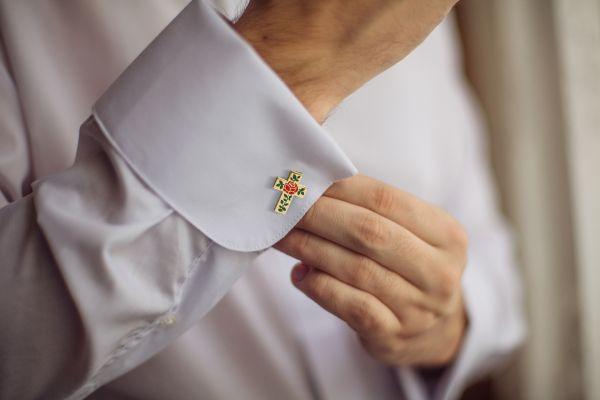 Rose Croix Silk Tie & Matching Cufflinks